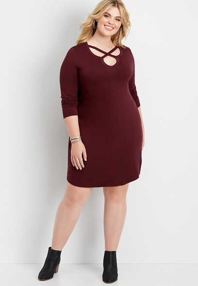 plus size 24/7 solid lattice neck t-shirt dress