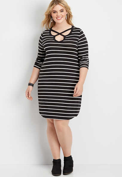 plus size 24/7 stripe lattice neck t-shirt dress
