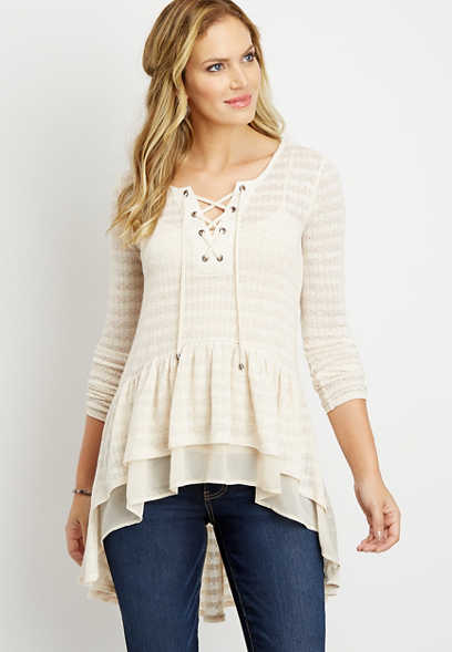 pointelle high low lace up duster top