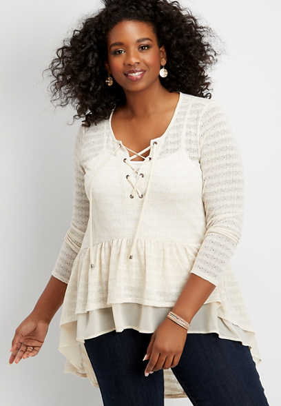 plus size pointelle high low lace up duster top