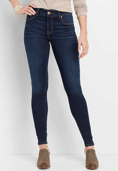 high rise dark wash jegging made with REPREVE&reg