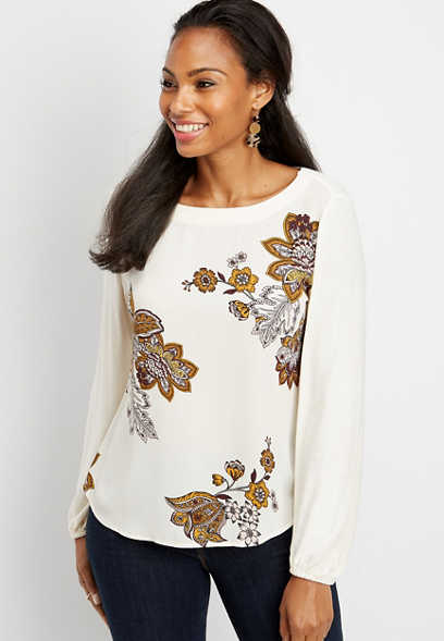 chiffon floral print long sleeve blouse