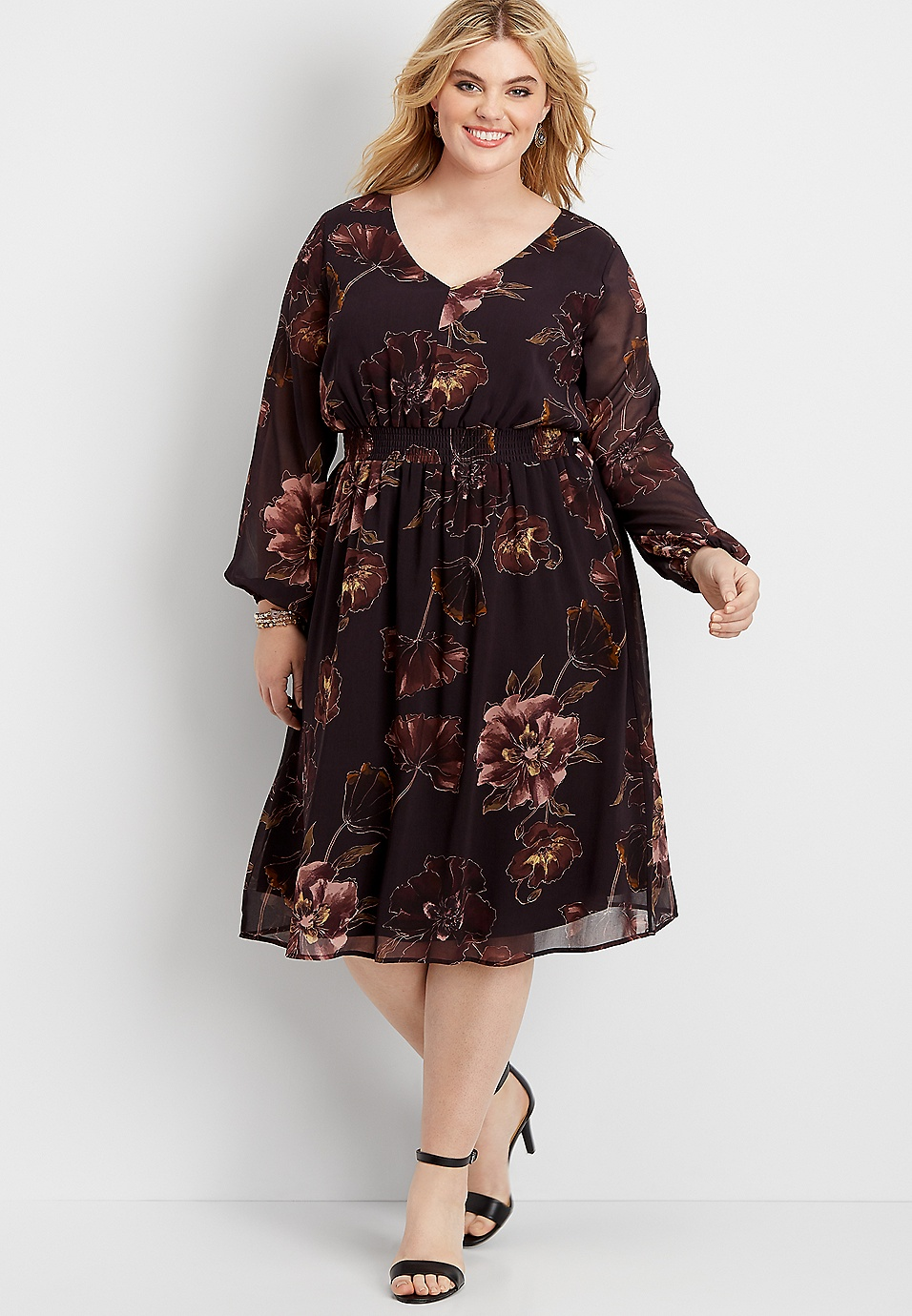 plus size floral smocked waist midi dress