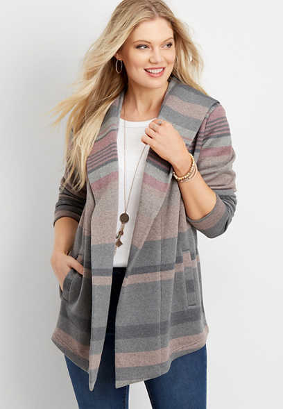 stripe fleece hooded coatigan