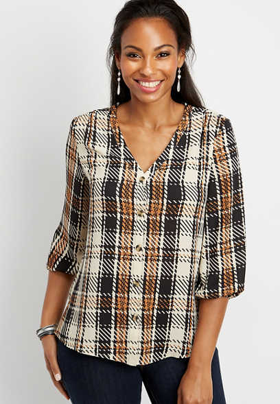 plaid button down blouse