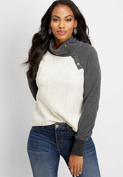 asymmetrical snap neck quilted front pullover