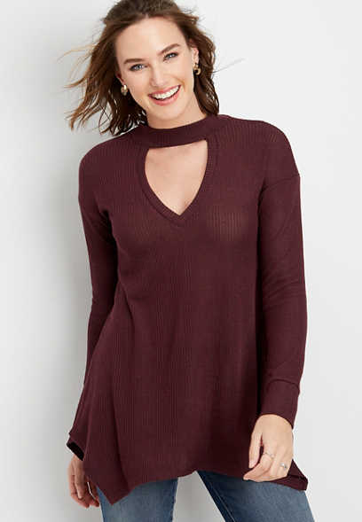 solid cutout tunic long sleeve top