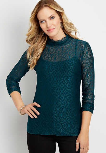 lace mock neck long sleeve tee