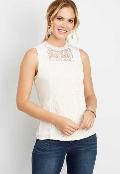 solid lace panel tank