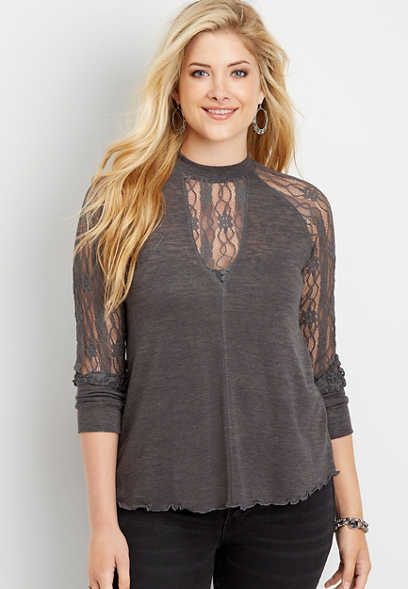 solid lace sleeve top