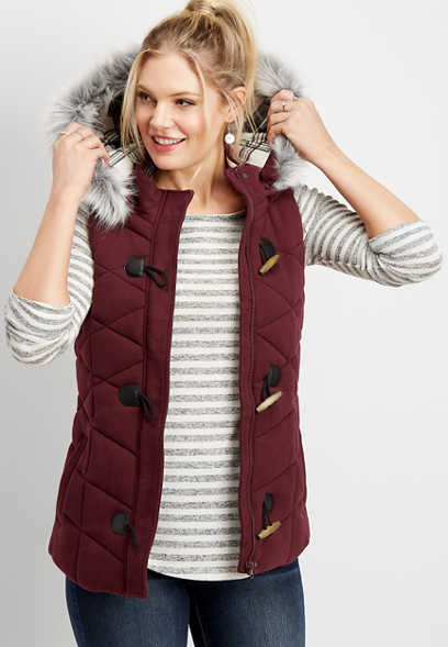 hooded toggle puffer vest