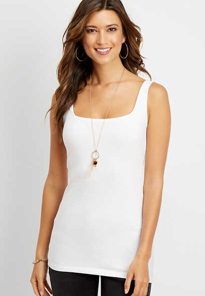 solid square neck layering tank