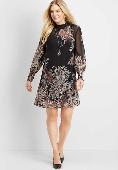 paisley smocked neck shift dress