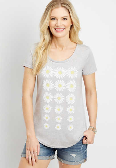 daisy print burnwash graphic tee