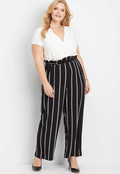 plus size stripe paperbag jumpsuit