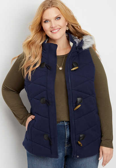 plus size hooded toggle puffer vest