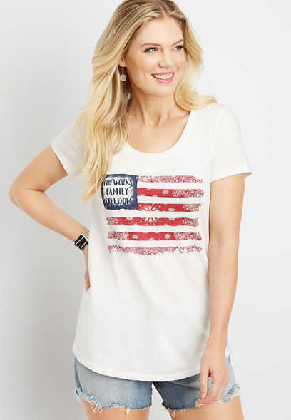 short sleeve flag graphic tee