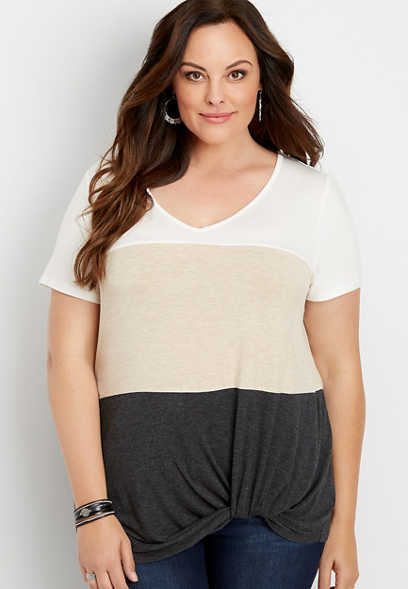 plus size 24/7 colorblock knot hem tee