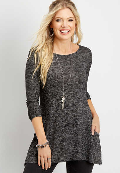 24/7 solid pocket tunic tee