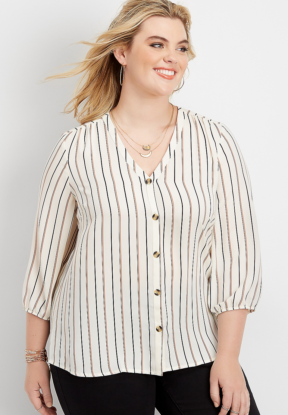 most fashionable best wholesaler hot-selling plus size striped button down blouse
