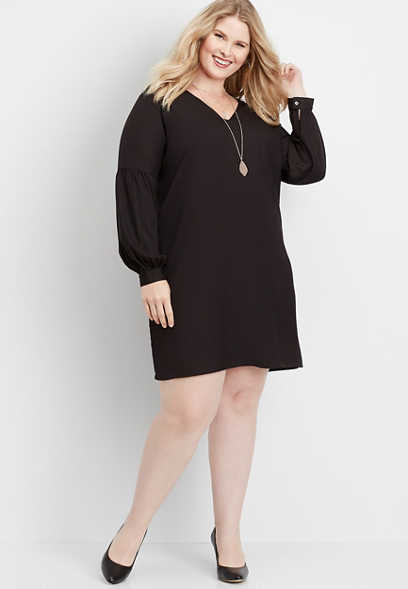 plus size solid balloon sleeve shift dress