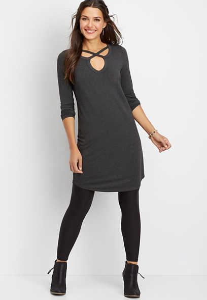 24/7 solid lattice neck t-shirt dress