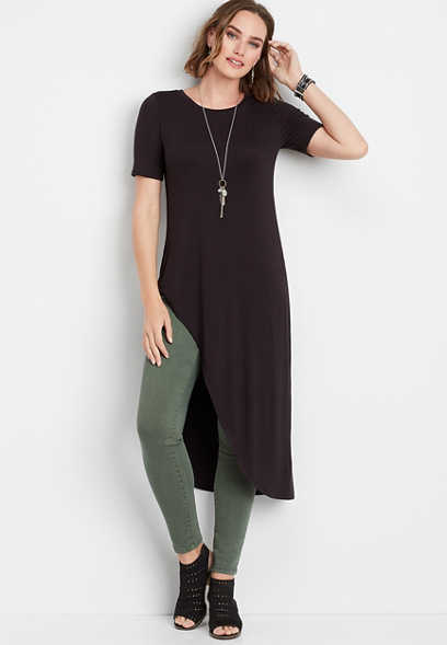 24/7 solid dramatic asymmetrical tee