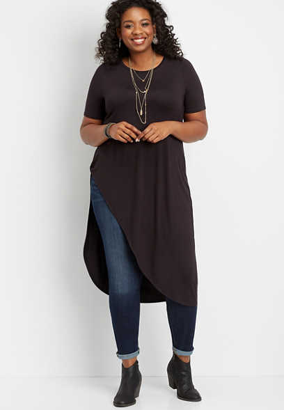 plus size 24/7 solid dramatic asymmetrical tee