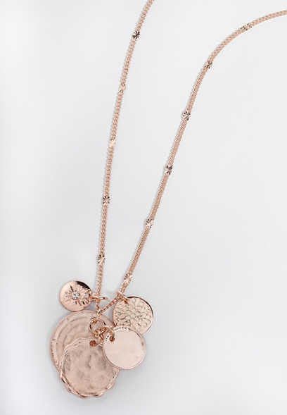 rose gold coin cluster necklace