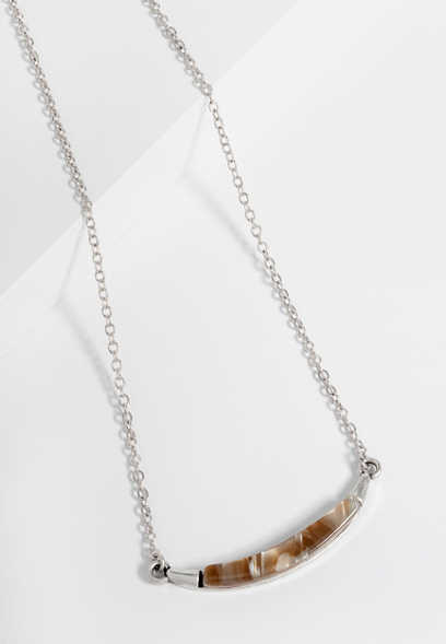 dainty curve stone bar necklace
