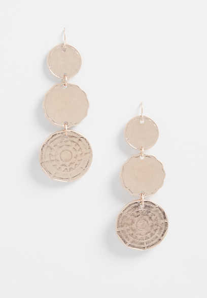 Rose Gold Drop Coin Earrings