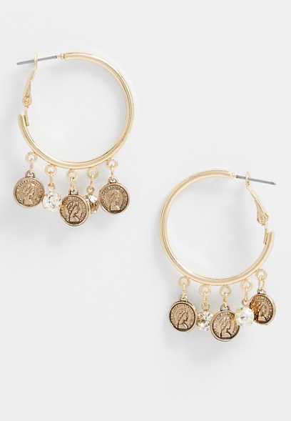 gold drop coin hoop earrings