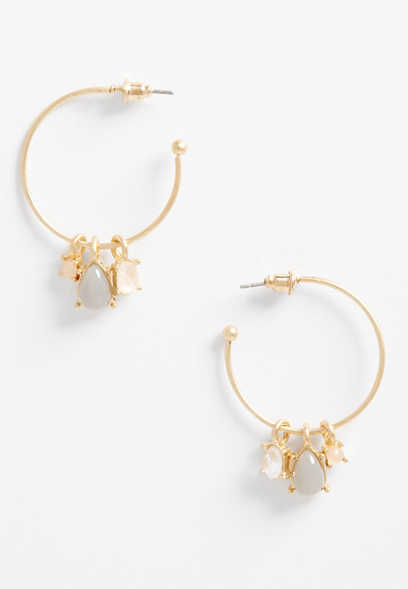 gold drop stone hoop earrings