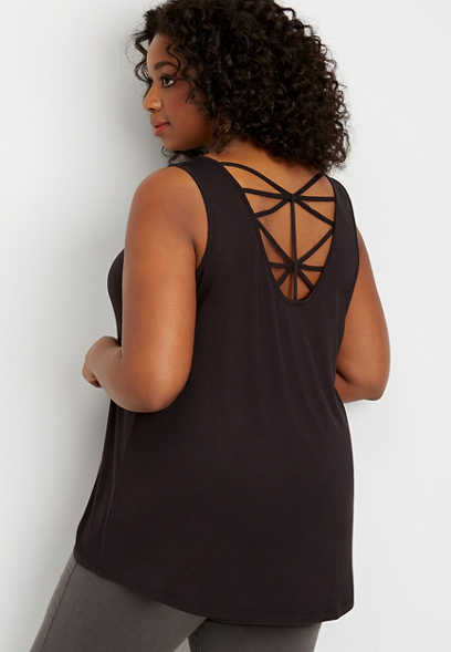 plus size 24/7 solid strappy back tank