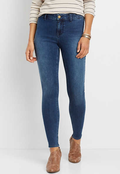 DenimFlex™ high rise medium wash clean front jegging