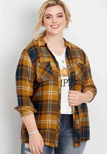 plus size plaid tunic button down shirt