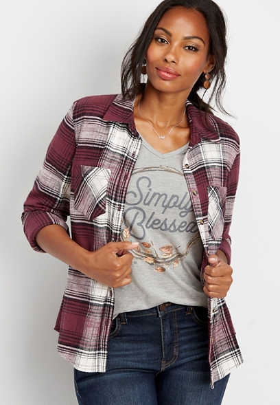 plaid flannel button down shirt