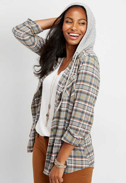 hooded plaid button down tunic shirt