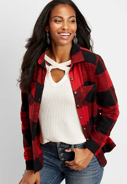 buffalo flannel plaid button down shirt