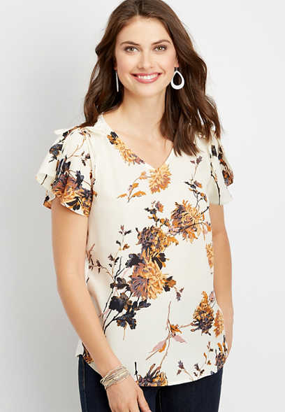 45b2daa6966326 chiffon floral print blouse
