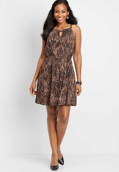 snakeskin keyhole neck dress