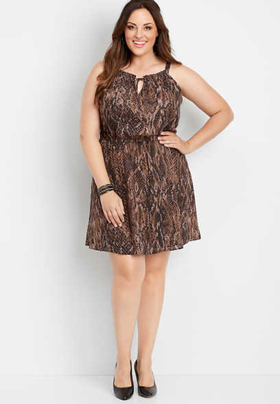 plus size snakeskin keyhole neck dress