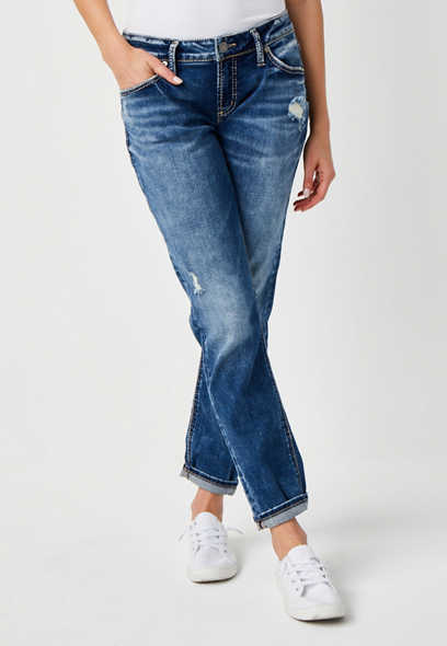 Silver Jeans Co.® Marble Wash Rolled Boyfriend Jean