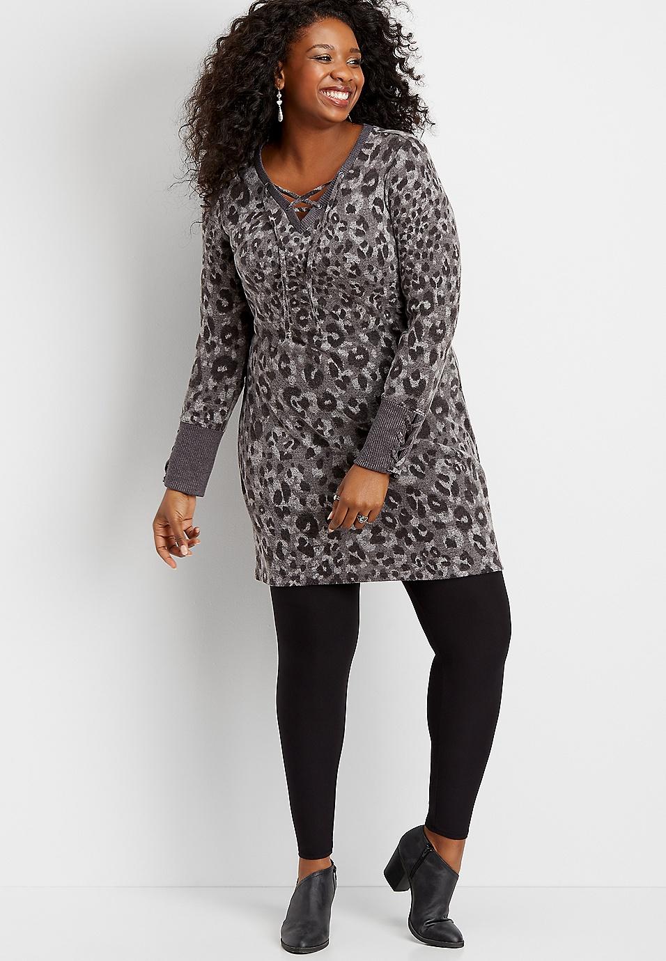 plus size animal print lace up shift dress