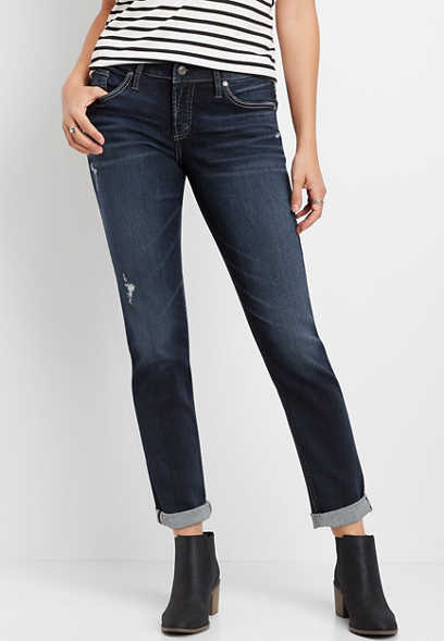 Silver Jeans Co.® dark wash destructed boyfriend jean