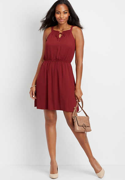 solid keyhole neck dress