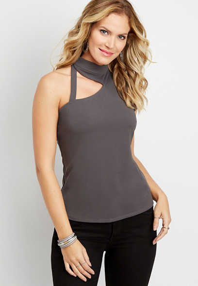 solid cut out high neck tank