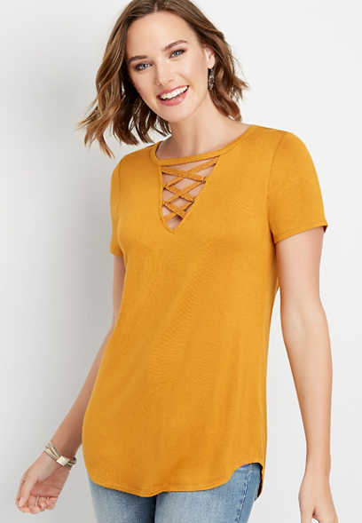 24/7 solid strappy lace neck tee