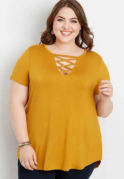 plus size 24/7 solid strappy neck tee