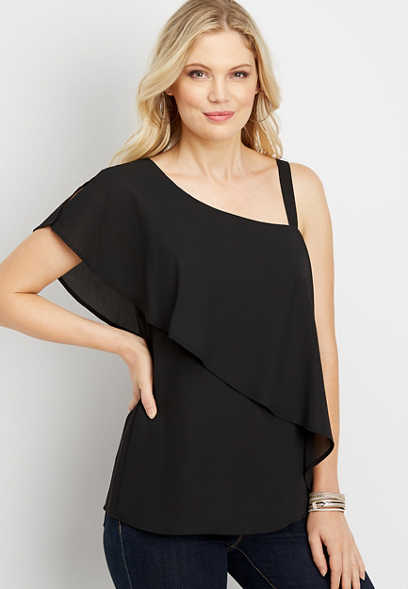 solid one shoulder flowy blouse